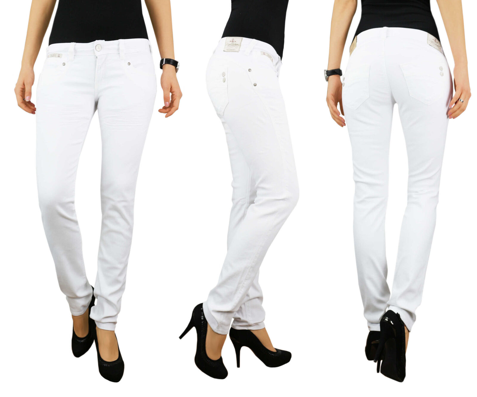 HERRLICHER Damen Hüft Jeans Hose PIPER SLIM 5650 SN560 100 Weiß Drill Stretch