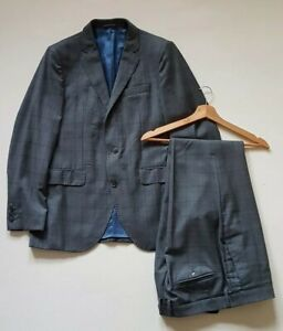 HACKETT-SUIT-Grey-Prince-of-Wales-Check-Slim-Wool-Size-40C-36W-31-5L-RRP-600