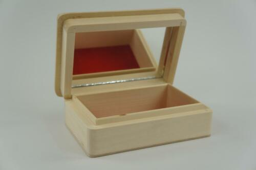 PS16LU Plain Wooden Flocked With Mirror Box Craft Storage Decoupage PS16LU