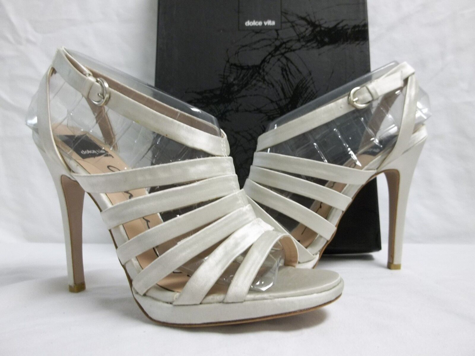 Dolce Vita Größe 9.5 M Riso Ivory Satin Open Toe Heels NEU Damenschuhe Schuhes