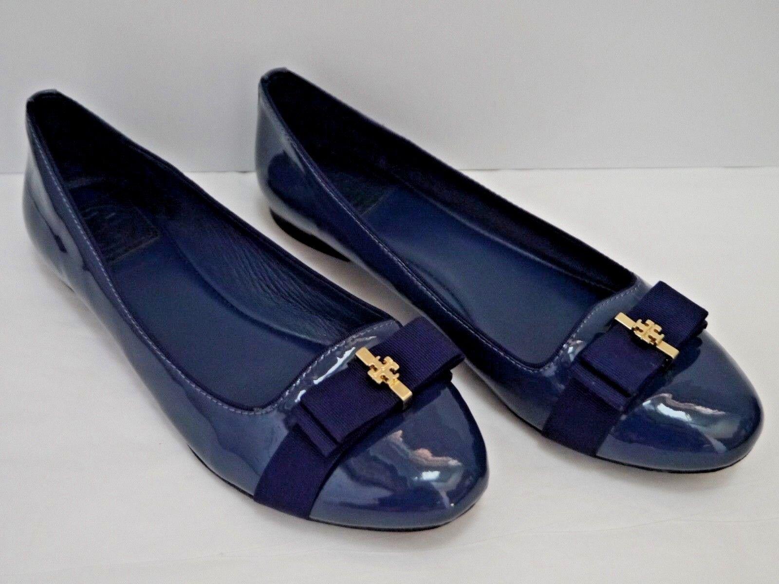TORY BURCH $250 Trudy navy blue patent grosgrain bow ballet smoking flats 7.5