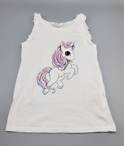 H&M Girls' 100% Cotton Unicorn Applique Top Size 6-8 Years Pre-owned