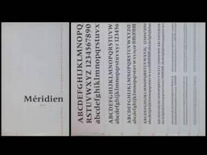 """Discret Brochure """"meridien Gras"""", Deberny Et Peignot, 1955- Adrian Frutiger, Typographie"""