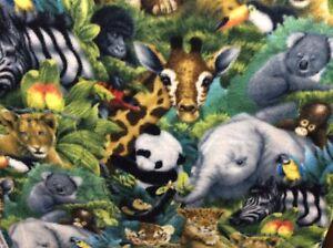 A-Rare-Occasion-Baby-Animals-Jungle-Safari-Elephants-Fleece-Fabric-60-034-w-BTY