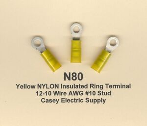 Nylon Insulated Ring Terminals Set of 100 Wire Size: 4 Stud: 0.25 Color: Yellow