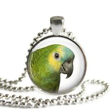 BLUE FRONT AMAZON PARROT EXOTIC BIRD Glass Bezel Setting Altered Art Necklace