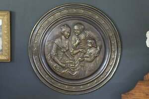 Large-17-1-2-034-Brass-Charger-Vintage-Brass-Wall-Plate-of-Colonial-Family-Dining