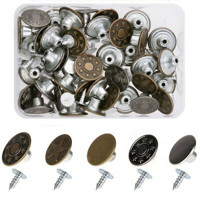 50Set 17mm Hammer//Press On Copper Denim Jeans Snap Buttons w// Tack