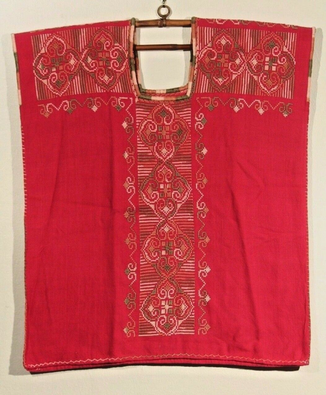 New Authentic Ethnic Mexican Hand Woven Embroider Cotton Blouse Top Deep Rosa