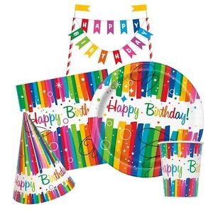 RAINBOW-RIBBONS-Birthday-Party-Tableware-amp-Decorations-Napkins-Plates-Banner