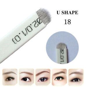 Alert 100pcs Microblading Eyebrow Blades Shading Needles Tattoo Curved Manual 18u Pin Tattoo Needles, Grips & Tips