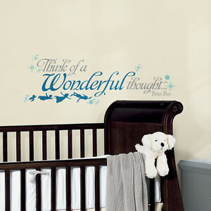 New Peter Pan Quote THINK A WONDERFUL THOUGHT WALL DECALS Disney Stickers Decor