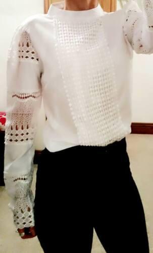 Blouse 10 Work Victorian Womans Boutique Shirt White Top Office Ladies 8 Ba0qpvw