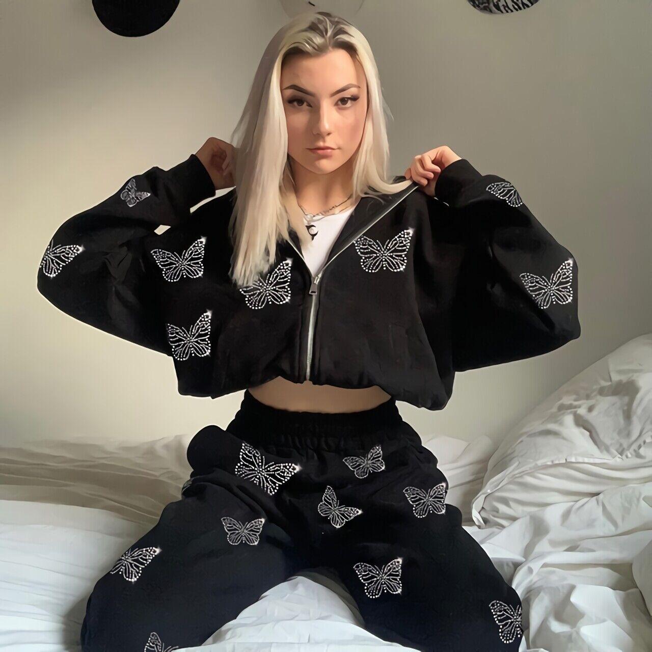 Damen Lose Schmetterling Reißverschluss Kapuzenpullover Hosenanzug Casual Sports