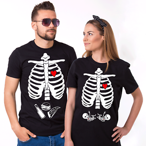 Pregnancy Funny X-ray Skeleton Baby Girl Funny Halloween Couples Costume Tshirts