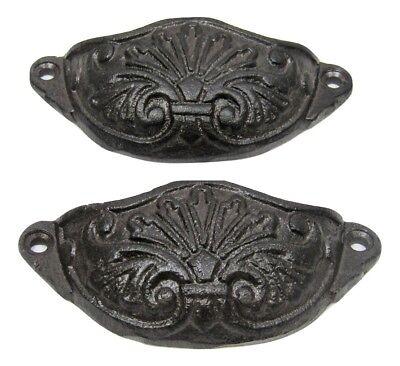 Set of 2 2 Small rustic metal Handles from vintage wardrobe