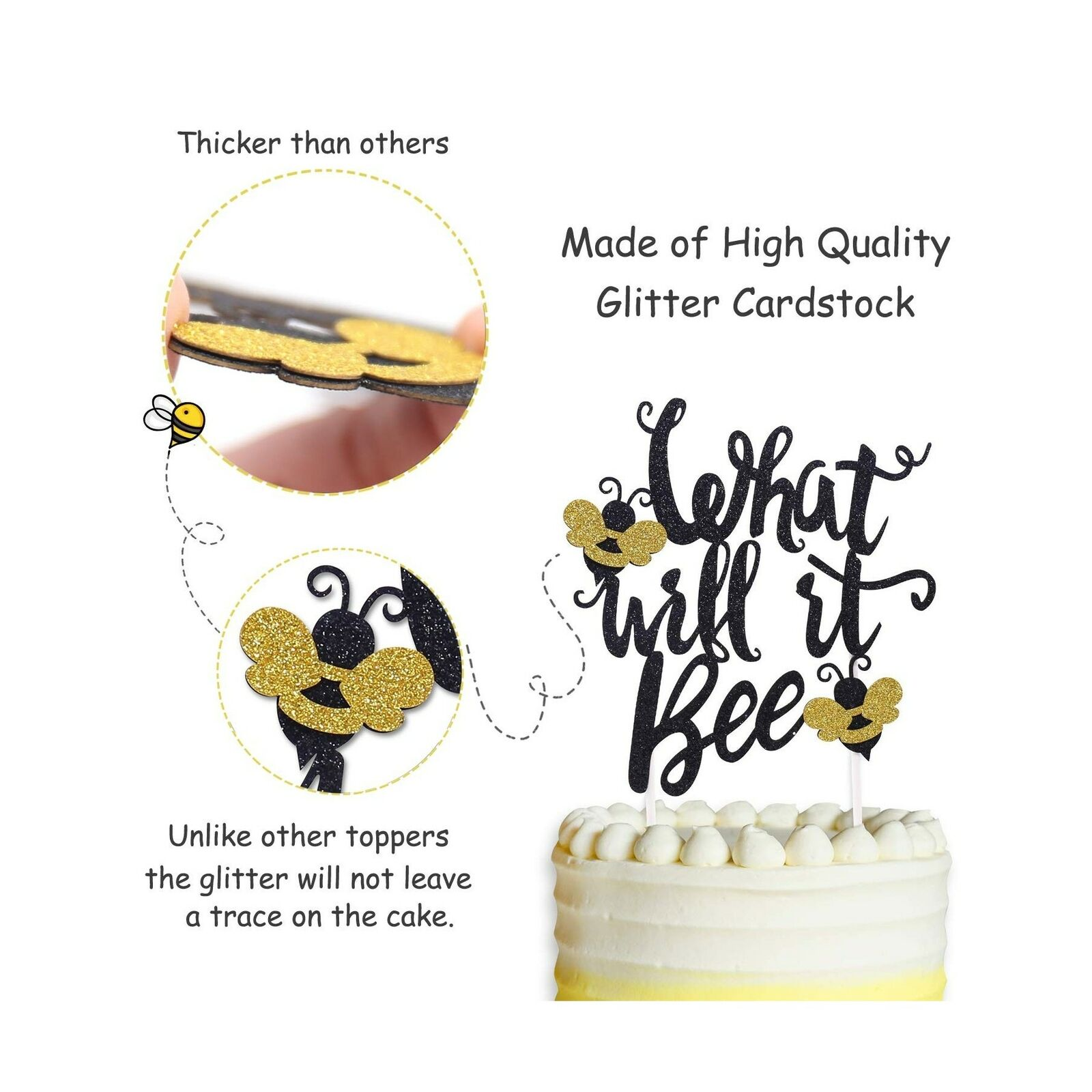 LILIPARTY What Will It Bee Cake Topper for Gender Reveal Party New Baby Shower Baby Announcement Party Decoration Supplies Garden Theme Cake Decor