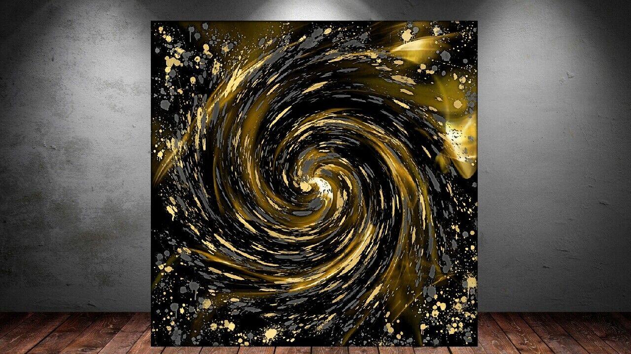 LEINWAND BILD ER XXL POP ART ABSTRAKT BUNT Gold SPLASH FARBKLECKSE MODERNE KUNST