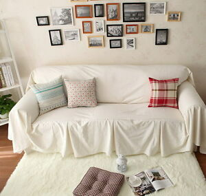 Vintage Style White Cotton Love Seats Couch Cover Throw