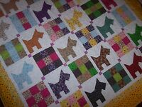 Beautiful Scotty Dog Quilt Handcrafted Cotton Quilt Quilt