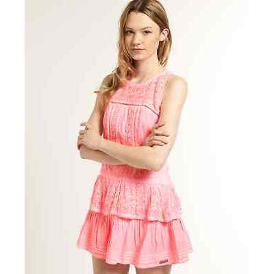 New Womens Superdry Odessa Dress Cold Dye Pink