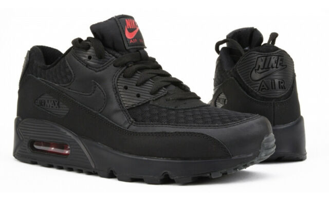 Nike Air Max 90 Essential, Black & Red, Sz UK 8, EU 42.5, US 9, 537384 084
