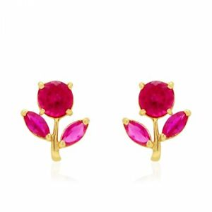 Jewelry & Watches Careful 14k White Gold Diamond Cut Pink Sapphire Flower Child Stud Earrings Screw Back