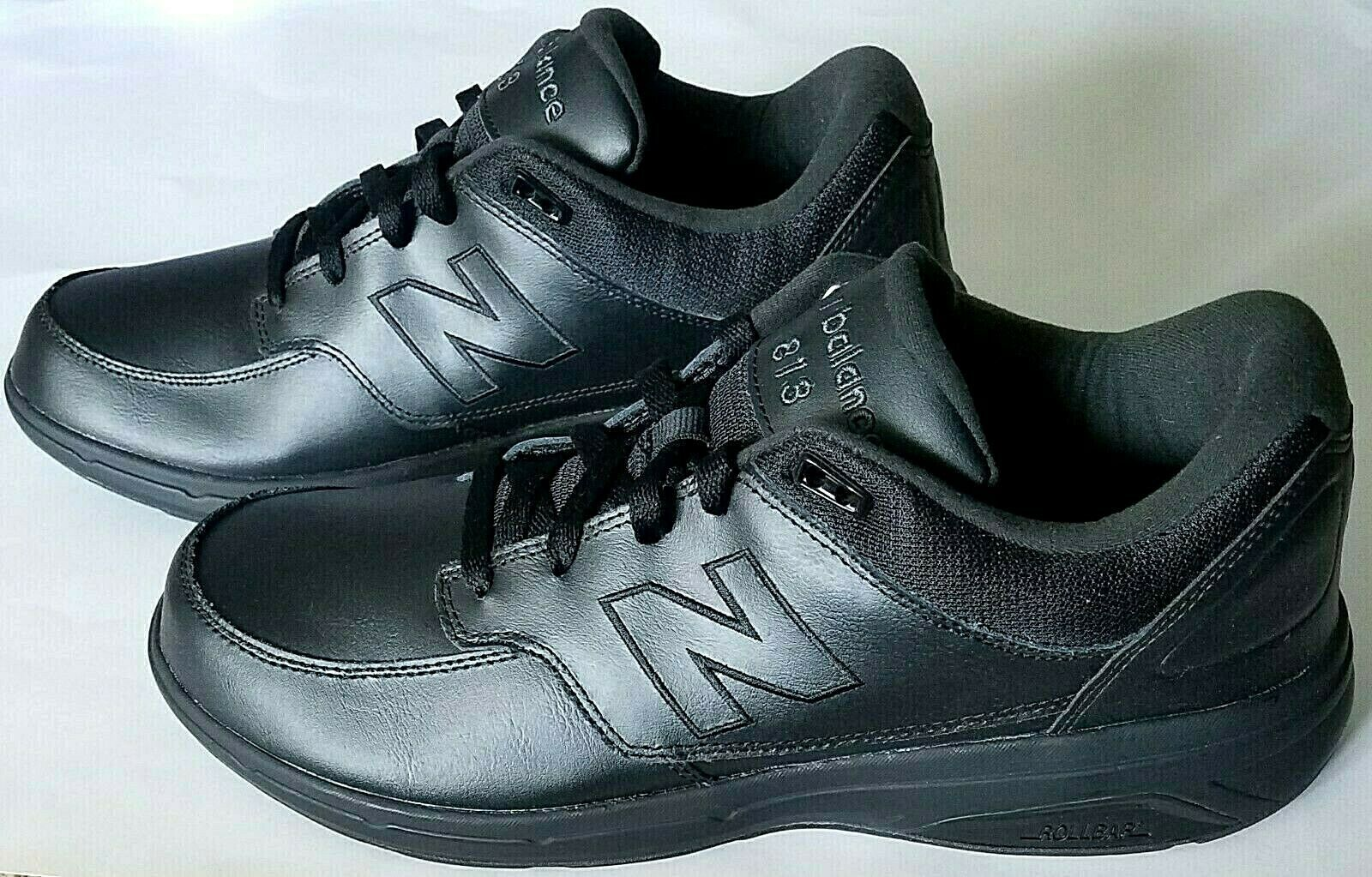 NEW BALANCE Men's MW813BK Black Leather Lace-Up Walking shoes Size US 12
