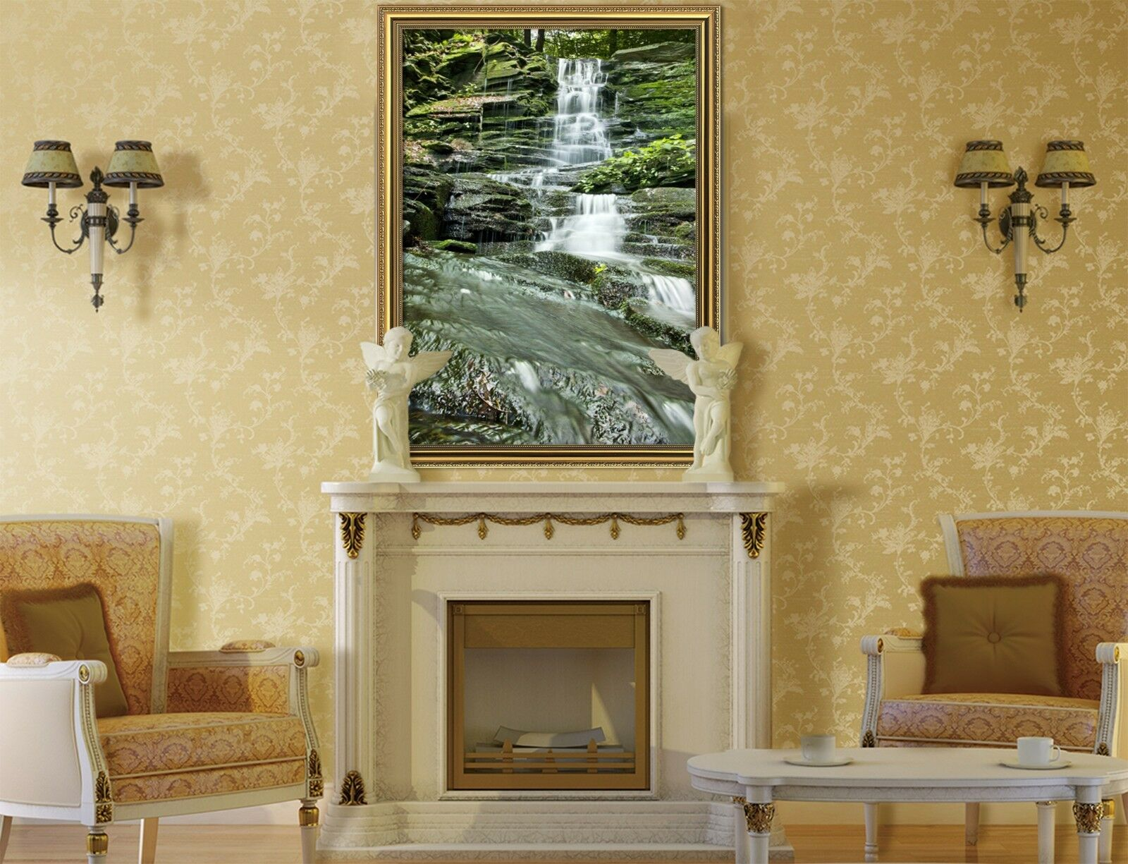3D piedras Creek 12 Póster Enmarcado Musgo Decoración del Hogar Pintura de Impresión Arte AJ Wallpaper