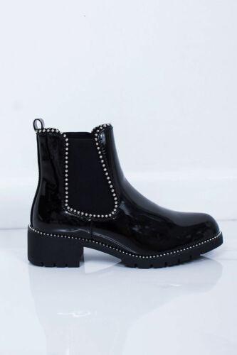 Damen Chelsea Stiefeletten Niedriger Blockabsatz Nieten Grob Winter Schuhgröße
