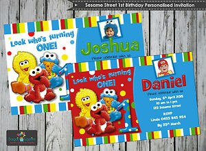 Image Is Loading SESAME STREET 1ST FIRST BIRTHDAY PERSONALISED INVITATIONS CARDS