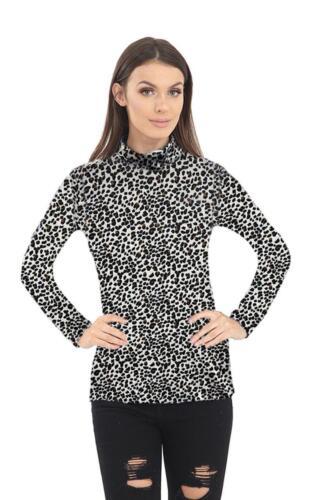 Womens Ladies Leopard Print Long Sleeve Polo High Neck Tshirt Top Plus Size 8-26