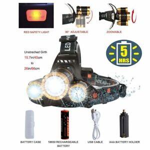 Linterna Recargable Brillante LED Lampara de Cabeza Impermeable USB Zoom 4 Modos