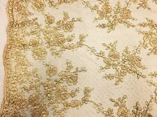 Antique Flower Design Mesh Lace Fabric Bridal Wedding Gold. Sold By The Yard