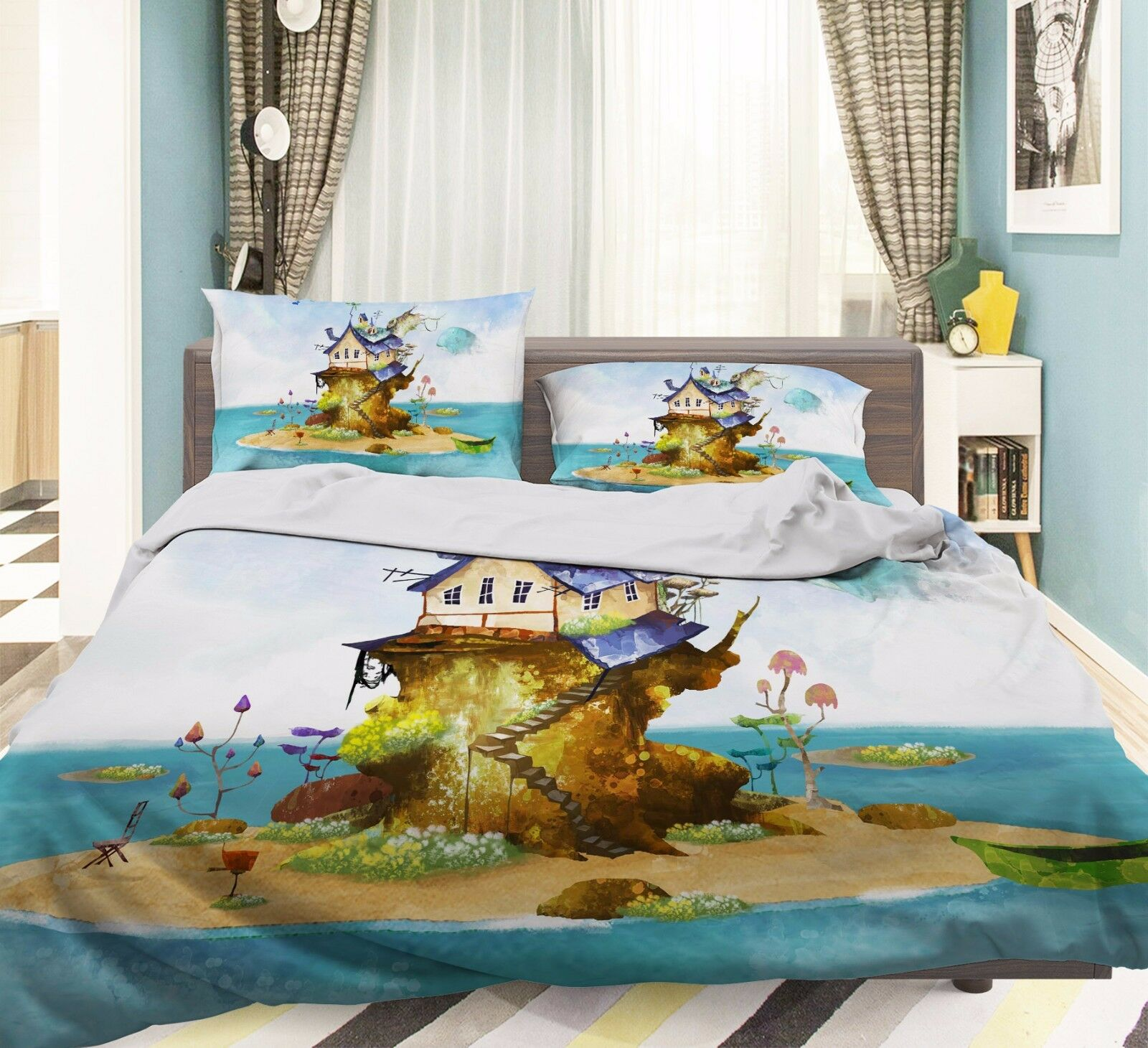 3D Sea Island Cartoon Hut 5 Bed Pillowcases Quilt Duvet Cover Set Single Queen