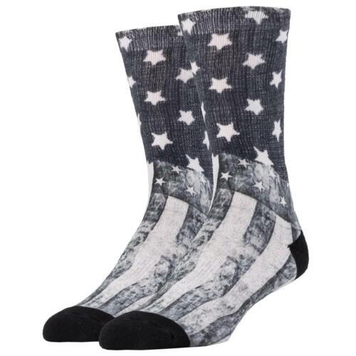 Sock It Up Men/'s Crew Socks Midnight Rider Black and White American Flag