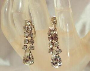 Vintage-50-039-s-Dangle-Ice-Rhinestone-Deco-Tear-Prong-Screw-Back-Earrings-863JL9