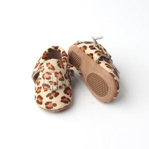 Leopard Baby Moccasins Leather Baby