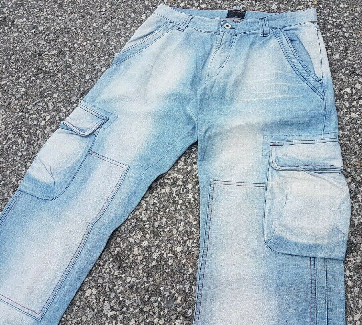 Energie Men's Jeans Light Wash Faded Cargo Jeans Straight Leg ITALY Sz 32x34
