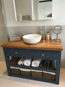 Merveilleux Image Is Loading Handmade Solid Oak Vanity Unit Washstand Bathroom  Furniture