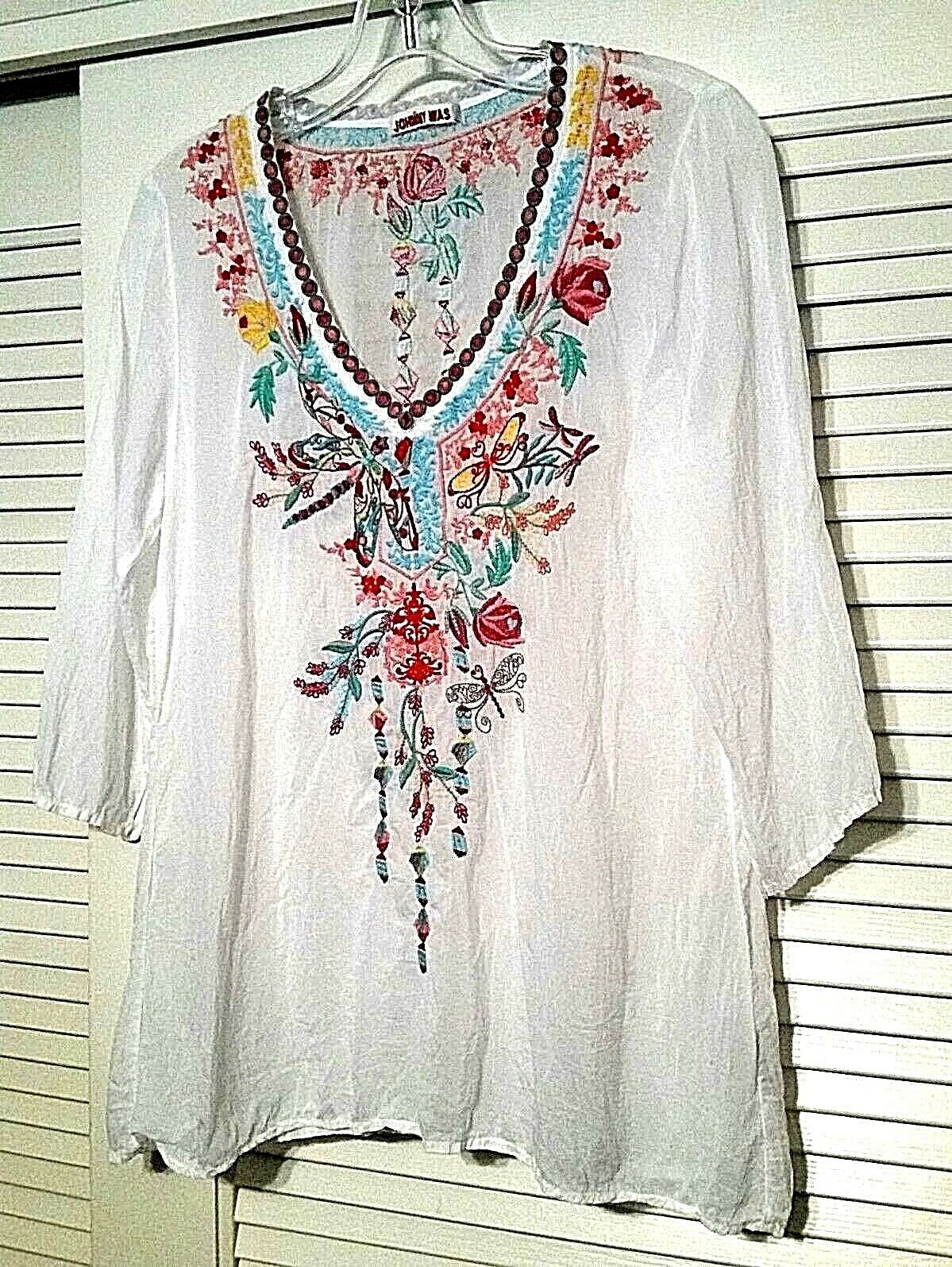 Johnny Was White Floral Embroidered Dragonfly Tunic Blouse Top Size XS