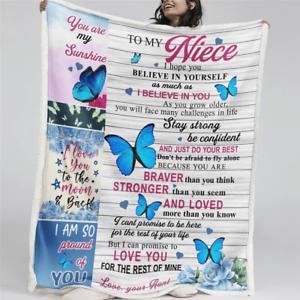 To My Niece Hope You Believe In Yourself Butterfly Family Sherpa Fleece Blanket