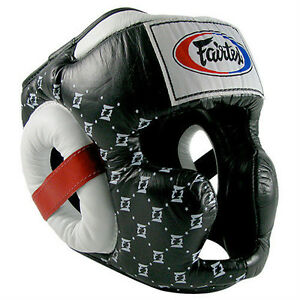 NEW-Fairtex-Super-Sparring-Headgear-Black-amp-White-Muay-Thai-Kickboxing-MMA