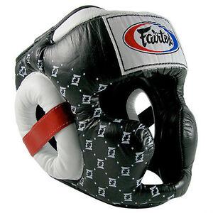 NEW! Fairtex Super Sparring Headgear - Black & White - Muay Thai Kickboxing, MMA