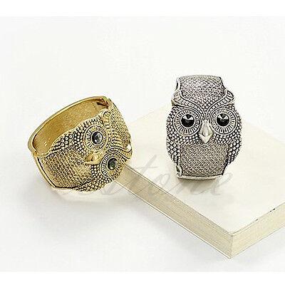 Retro Vintage Black Crystal Eye Big Owl Cuff Bangle Silver Coppery  Bracelet Hot