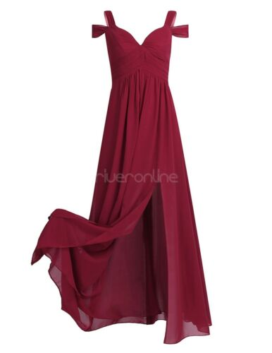 Abendkleid Lang Chiffon Ballkleid Party Kleid Brautjungfernkleid Trägerlos Damen