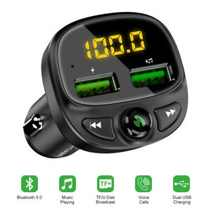 2-USB-Port-Bluetooth-5-0-Car-Charger-Music-FM-Player-Cigarette-Lighter-U-Disk-TF