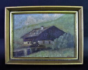 Paul-SCHOLZ-1859-Wien-1940-Graz-Olgemaelde-BERGBAUERNHOF-mit-MUHLE-Lungau