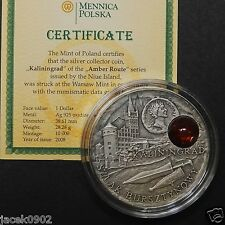 1$ Niue/Poland 2008 AMBER ROUTE - KALININGRAD -Amber insert as in Mineral Art