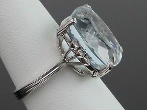 Vintage-10-3CT-Natural-Aquamarine-amp-0-3CT-Diamond-18K-White-Gold-Ring-6-7g-sz6